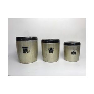 Vintage aluminum West Bend kitchen canisters 3